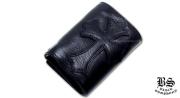 クロムハーツ chromehearts 3フォールド ウォレット セメタリークロスパッチ ブラック ヘビーレザー
